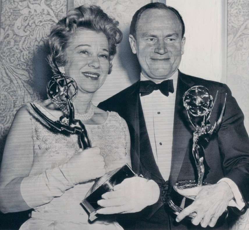 Glenda Farrell and E.G. Marshall with their Emmys.