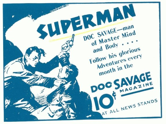 A 1934 magazine ad promoting Doc Savage, a hero who had been raised to be a peak human
