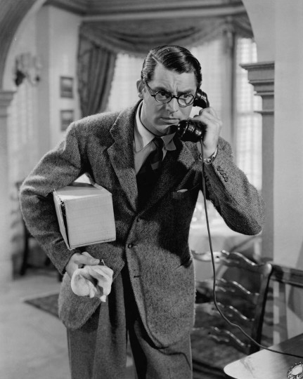 Cary Grant's Harold Lloyd-inspired character in Bringing up Baby.