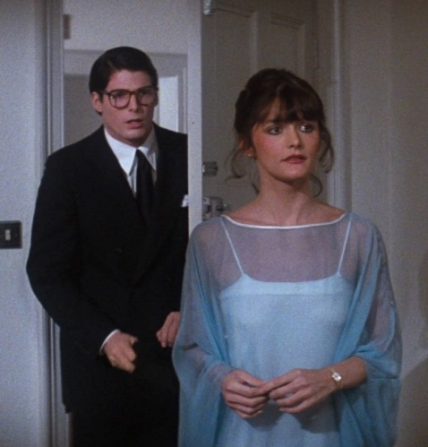 Christopher Reeve as Clark Kent and Margot Kidder as Lois Lane.
