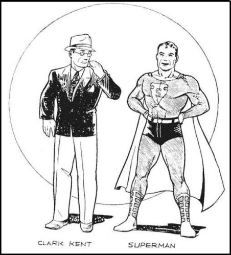 An early Joe Shuster drawing of Clark Kent and Superman