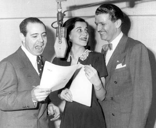 From left to right, Jackson Beck, Joan Alexander, and Bud Collyer.