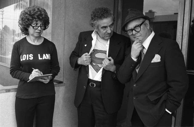 From left to right, Joanne Siegel, Jerry Siegel, and Joe Shuster.