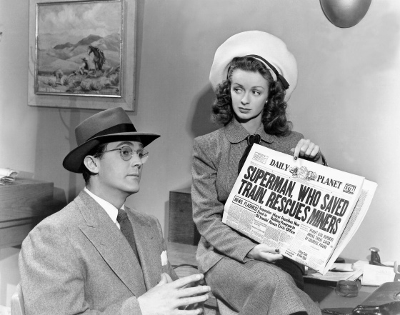 Kirk Alyn as Clark Kent and Noel Neill as Lois Lane.