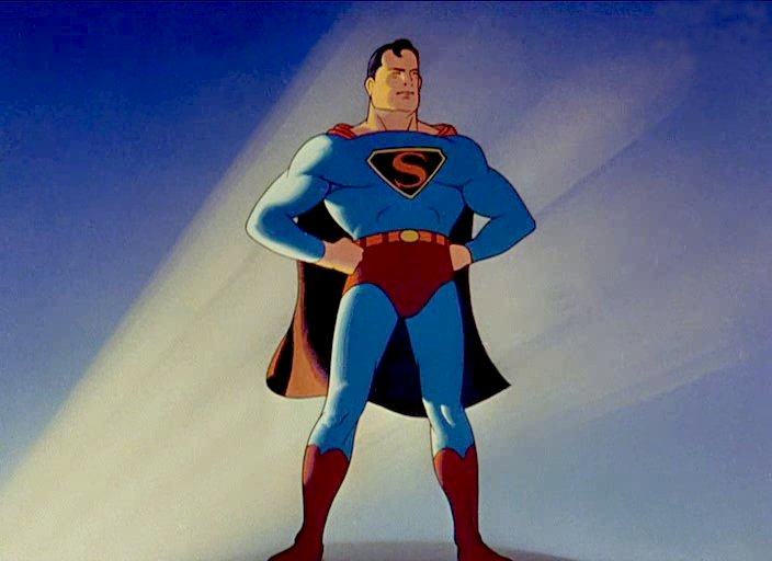 Superman as portrayed in the Max Fleischer cartoons. Note the Fairbanks-esque pose.