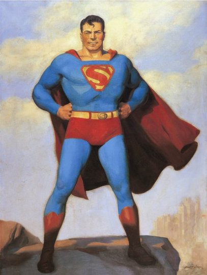 Superman painting by Hugh J. Ward